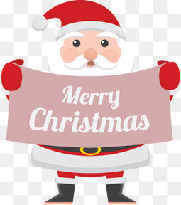 拿着圣诞快乐牌子的圣诞老人