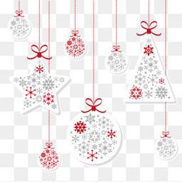 白色纸质圣诞吊球与挂饰矢量素材