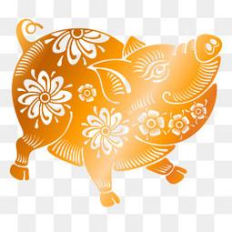 2019年猪年剪纸猪矢量图