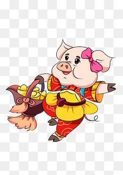 十二生肖吉祥小猪插画