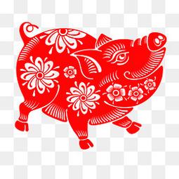 2019猪年恭喜发财红色剪纸