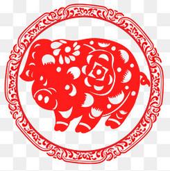 2019猪年春节喜庆剪纸风插画