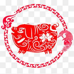 十二生肖农历猪年剪纸猪插画