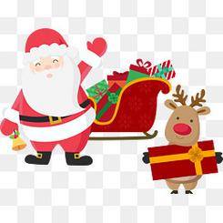 圣诞老人雪橇与麋鹿 圣诞节麋鹿
