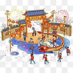 新春佳节街头舞龙插画素材