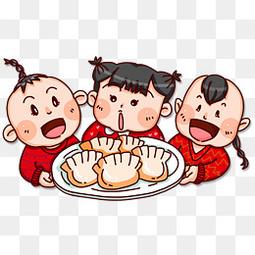 冬至吃饺子卡通装饰图案