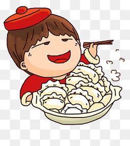 卡通手绘可爱小男孩吃饺子