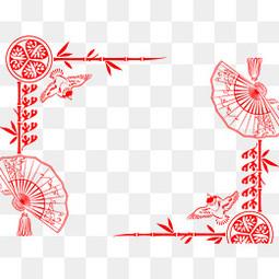 红色中国风剪纸纹路背景图