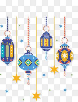 矢量蓝色特色新年元旦灯笼