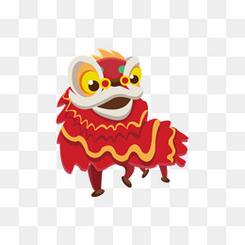 卡通中国风舞龙舞狮新春装饰元素