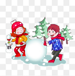 冬季冬天節氣冬裝卡通插畫玩雪球