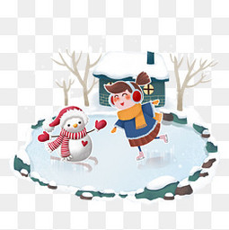 冬天欢乐堆雪人滑冰