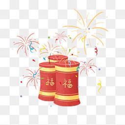 小年过年春节烟花鞭炮电商节日元素