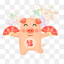 新春新年春节除夕猪烟花喜庆
