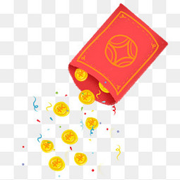 春节节日过年红包金币彩带