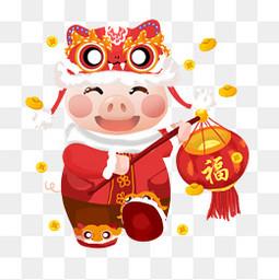 春节节日过年新年福字猪猪灯笼