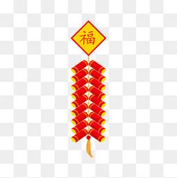 春节节日过年新年福字鞭炮