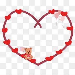 情人节红色心形气球小熊可爱