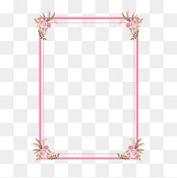 情人節七夕粉色邊框鮮花