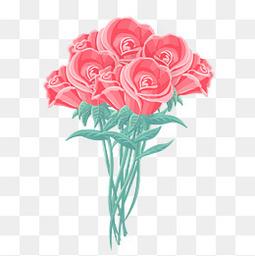 情人节七夕手绘鲜花粉色
