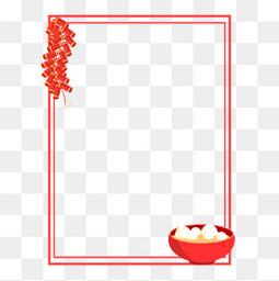 元宵节红色边框鞭炮汤圆