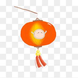 元宵节橙色手绘汤圆灯笼