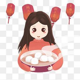 元宵节女孩吃汤圆猜灯谜