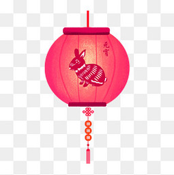 元宵节红色喜庆兔子灯