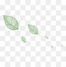绿色描线漂浮树叶卡通手绘素材