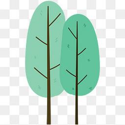 春天手绘小清新树木元素