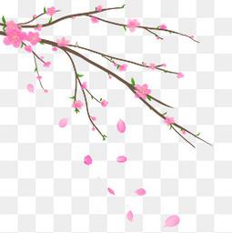 春天手绘小清新桃花元素