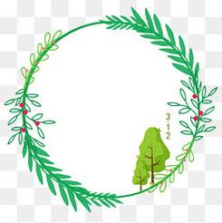 植树节绿色大树圆形文本框元素