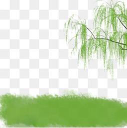 清明节手绘柳树草地素材