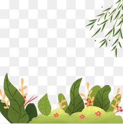 清明节踏青草地柳树