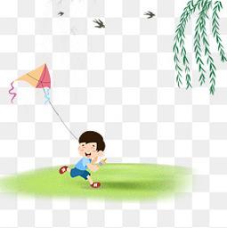 清明节春季出游踏青放风筝