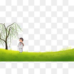 清明节柳树下带红领巾的的学生
