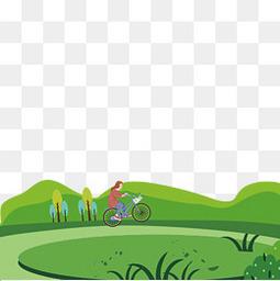 清明节郊游春光自行车骑行春天风景PNG