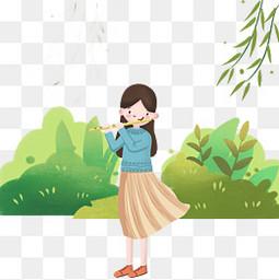 清明节吹笛子人物插画
