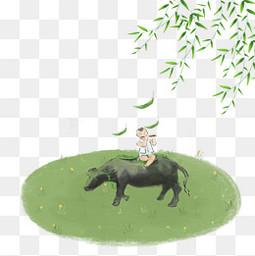 清明牧童綠柳燕子PNG節氣