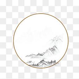 中國風邊框裝飾水墨風古風