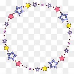 彩色星星圓形邊框設計