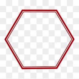 六边形中国风古典红色边框PNG