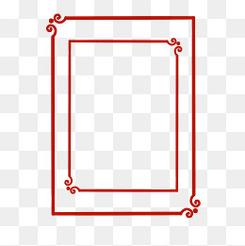 古典中国风新年红色边框png免抠