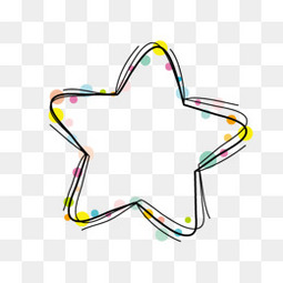 彩色卡通斑点星星五角星边框