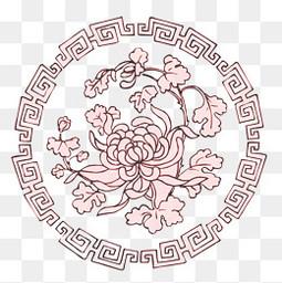 中国风圆形菊花纹理