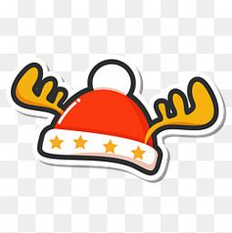 创意卡通圣诞节的帽子贴纸