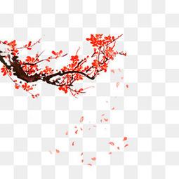 手绘中国风红色梅花