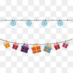 矢量圣诞雪花礼物盒彩旗