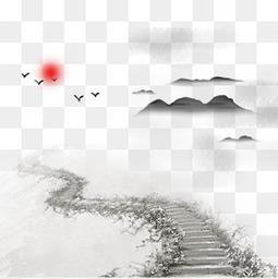 清明节水墨风山路背景元素