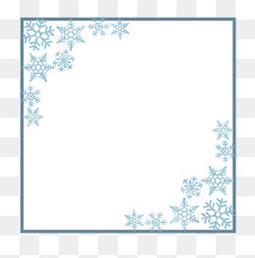 新年白色雪花圣诞蓝色渐变边框